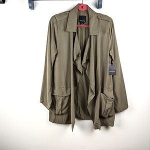 Trouve Green Lightweight Open Front Trench Coat